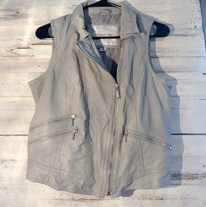 Gray Pleather Vest
